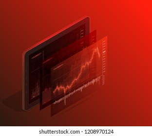 Online 3d isometry statistics data Analytics. Digital money market, investment, finance trading. Perfect web design, banner presentation. Isometric vector illustration. Forex market trading 3d phone