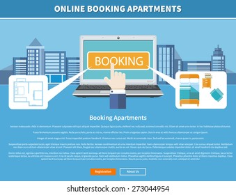 Online accommodation booking concept on modern technology device laptop in flat web design. Laptop with room on background with buildings. Banner with text and buttons registration and about us