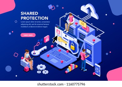 Online administrator, web hosting concept. Technician repair software. Hardware protection share infographic. Store safe server concept. Characters and text images, flat isometric vector illustration