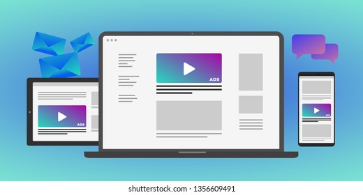 Online advertising concept in laptop and mobile device - Programmatic Advertising cross targeting audience ads concept illustration. Laptop, Tablet PC, mobile phone isolated on gradient background