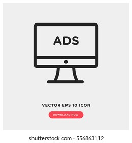 Online advertising vector icon, web ads symbol. Modern, simple flat vector illustration for web site or mobile app