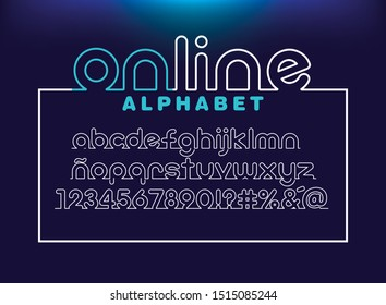 online alphabet and number, One line font Thin rounded