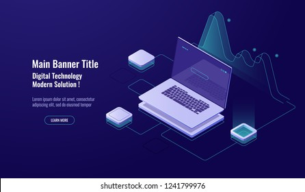 Online Analytics, big data processing, laptop with graph, data visualization, isometric, database access, account sign in, enter password, dark neon vector, ultraviolet