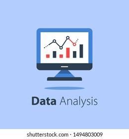 Online analytics, computer monitor and diagram, web statistic, internet big data, website usage report, vector flat illustration