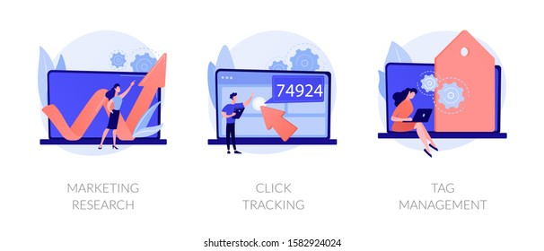 Online analytics icons set. Social network business development, strategy building. Marketing research, click tracking, tag management metaphors. Vector isolated concept metaphor illustrations.