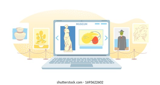 Online art gallery banner. Virtual museum in modern laptop isolated on white background. Online exhibition Tours, Internet technology. Home leisure on mobile devices. Web tourism Vector concept.