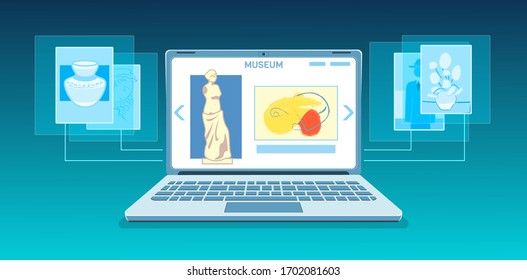 Online art gallery banner. Virtual museum in modern laptop on tech background. Online exhibition Tours, Internet technology. Home leisure on mobile devices. Web tourism Vector concept.