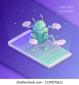 Online assistant. Artificial Intelligence, Communication with robot. Isometric vector illustration
