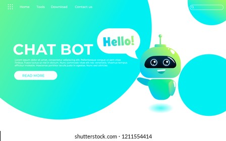 Online assistant bot landing page template. Technical support design  for web page. Virtual help website. Chatbot say Hello. Vector cartoon illustration