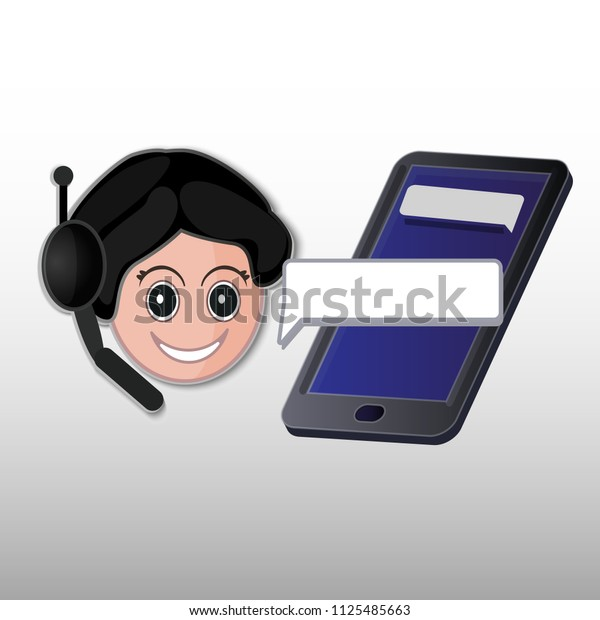 Online assistant. Cartoon girl smiling. Women works in support. Isometric mobile. Blue screen.