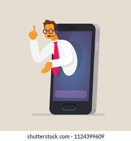 Online assistant. The concept of assistance and counseling through a mobile device. Consultant in the smartphone. Vector illustration in a flat style