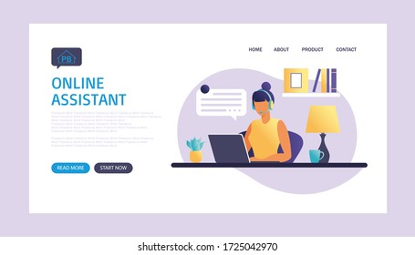 Online assistant landing page. Woman with headphones with computer. Concept illustration for support, assistance, call center. Technical support. Virtual help service. Vector illustration in flat.