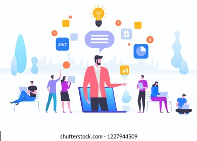 Online assistant, virtual help service. Advises client. Concept customer and operator, online technical support 24/7 for web page, banner, presentation, social media, documents. Vector illustration