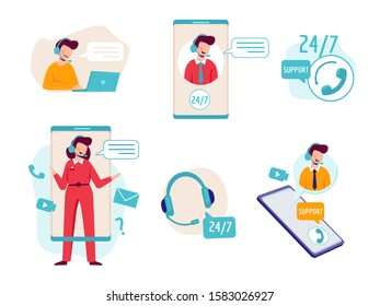 Online assistant. Virtual operator chat help technical support headset helpline service vector concept pictures