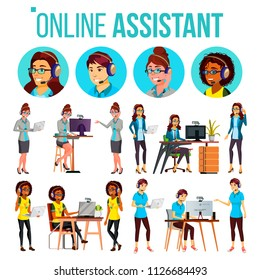 Online Assistant Woman Set Vector. Online Global Tech Support 24/7. Advises Client. Headphone, Headset. Talking. Office Workers At The Computer. Assistance And Counseling. Illustration