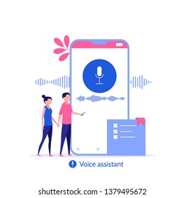 Online assistant. Young people use speaker recognition, voice control, virtual assistant, identification, hotline operator. Vector illustration concept of flat design.