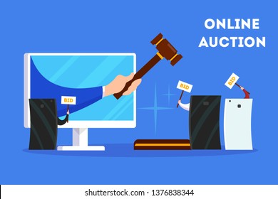 Online auction concept banner set. Taking action in auction through the digital device. Bid and buy art online. Flat vector illustration