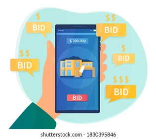 Online auction concept. Hand holding a smartphone on the screen which shows the confiscated house, put up for auction. Flat cartoon vector illustration.