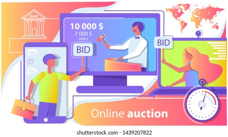 Online auction on the Internet. International trade, world map. People make bets by phone. Vector illustration of a flat style.