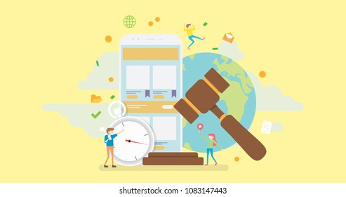 Online Auction Tiny People Character Concept Vector Illustration, Suitable For Wallpaper, Banner, Background, Card, Book Illustration, Web Landing Page, and Other Related Creative