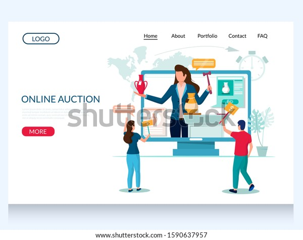 Online Auction Vector Website Template Web Stock Vector Royalty Free 1590637957