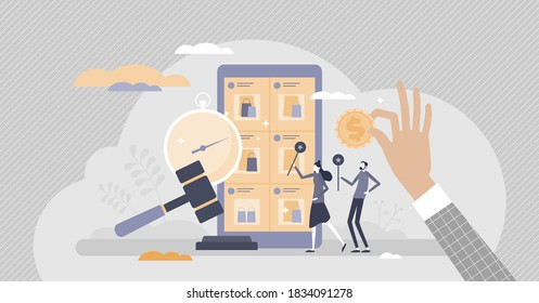 Online auction website as sales bidding and purchase place tiny persons concept. E-commerce auctioneer promotion art, luxury and antique products vector illustration. Symbolic gavel hammer decision.