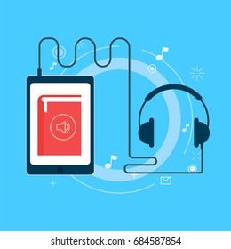Online audiobook banner. Vector flat illustration