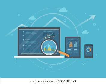 Online audit, research, analysis concept. Web and mobile service. Financial reports, charts graphs on screens of a laptop, phone, tablet. Business background banner. Vector illustration
