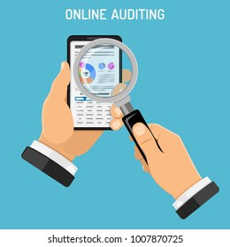 Online Auditing, Tax, Accounting Concept. Auditor Holds Smartphone in Hand and Checks Financial Report with Charts on Screen using a Magnifying Glass. Flat Style Icons. Isolated Vector Illustration.