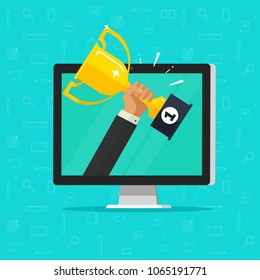 Online award goal achievement vector, flat cartoon computer and success winner holding golden cup prize, first place victory, competition winner, digital or electronic reward, internet web champion