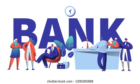 Online Bank Business Character Typography Banner. Safe Investment Deposit Meeting in Fin Tech Startup Office. Banking Customer Waiting in Queue for Poster Template Vector Flat Cartoon Illustration