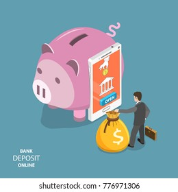 Online bank deposit flat isometric vector concept. Smartphone as a part of piggy bank with function of opening an online deposit. Businessman is standing around with a money bag.