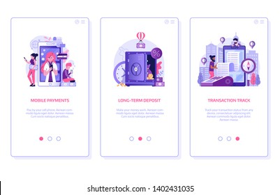 Online banking application UI onboarding screen illustrations with mobile payments, digital long-term deposit and bank payment transaction track concepts. Finance management mobile app templates.