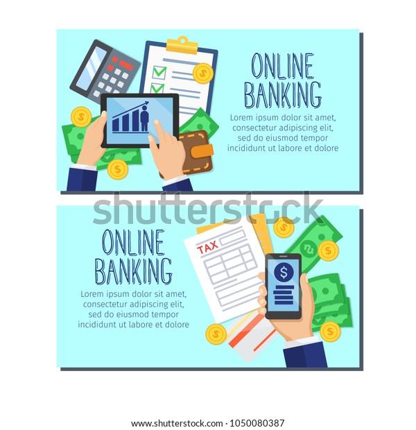 Online Banking Banners Bank Account Online Stock Vector