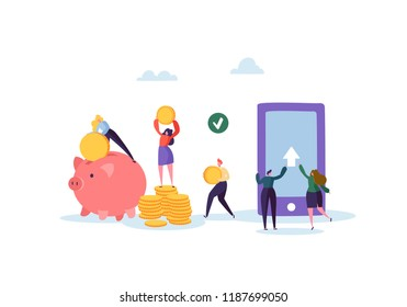 Online Banking Concept. Flat People Characters Sending Money from Mobile Application on Smartphone. Vector illustration