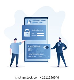 Online banking concept. Secure payments and e-wallet. User holding login and password page,handsome businessman with credit card. Modern smartphone on background. Vector illustration