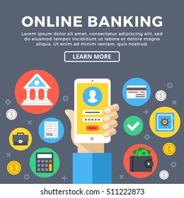 Online banking, e-banking concept. Manage bank account via mobile phone. Modern graphic objects, flat icons set for web design, banner, infographics, printed materials. Flat design vector illustration