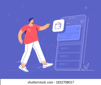 Online banking, ewallet and credit card. Flat vector illustration of smiling man standing near a smartphone with electronic credit card and pionting to wallet mobile app for accounting and investments