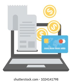Online banking and finance concept, flat icon