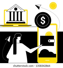 Online banking - flat design style vector illustration. Black, yellow and white composition with a woman using a smartphone, mobile app to make financial operations, images of laptop, building, wallet