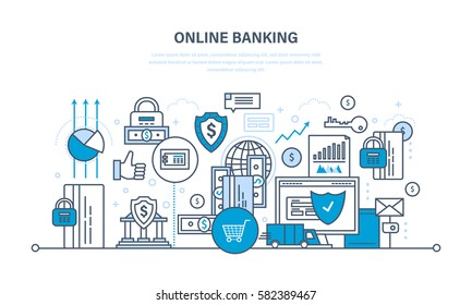 Online banking, guaranteed security payments, transactions, investments and deposits, advanced information technology. Illustration thin line design of vector doodles, infographics elements.