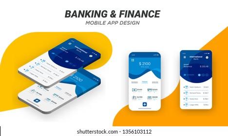 Online banking mobile application design vector template. Editable blue and orange banking app user interface design concept. Modern minimalist Mobile financing mockups. Material UI, UX, GUI screens