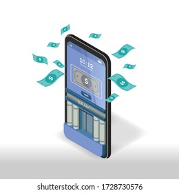 online banking in mobile application. vector isometric on isolated white background. suitable for illustration, banner, clip art and home page