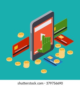 Online banking, mobile bank, money transfer, pay per click flat 3d isometric vector concept illustration