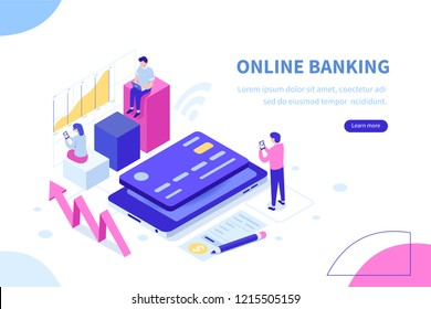 Online banking modern concept. Can use for web banner, infographics, hero images. Flat isometric vector illustration isolated on white background.