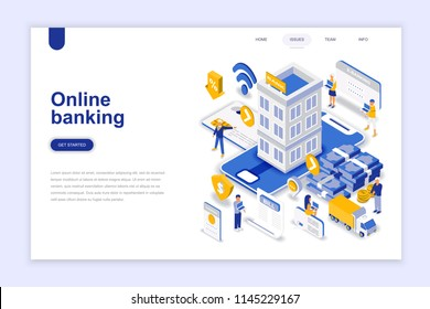 Online banking modern flat design isometric concept. Electronic bank and people concept. Landing page template. Conceptual isometric vector illustration for web and graphic design.