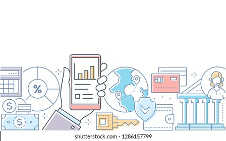 Online banking - modern line design style illustration on white background. A composition with a hand holding a smartphone with financial mobile app, images of cards, coins, key, call center operator