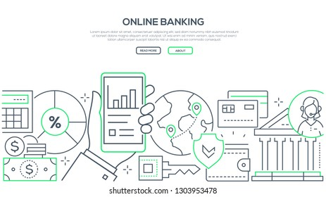 Online banking - modern line design style web banner on white background with copy space for text. A composition with a hand holding a smartphone with financial mobile app, images of cards, coins, key