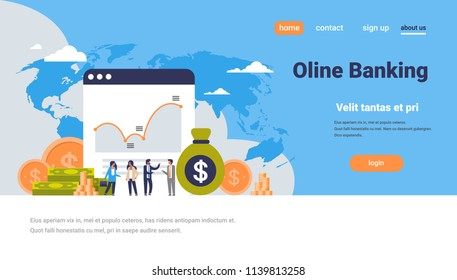 online banking money graph growth wealth concept dollar coin icon people finance analysis over world map background flat horizontal copy space vector illustration