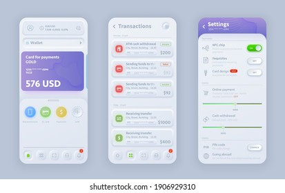 Online banking neomorphic interface vector design for responsive mobile application or website app. UI, UX or GUI user interface templates of wallet, payment card, transaction and setting screens